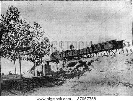 Lartigue Monorail, Feurs line to Panissieres, vintage engraved illustration. Industrial encyclopedia E.-O. Lami - 1875.