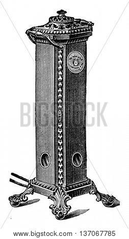 Burning stove, vintage engraved illustration. Industrial encyclopedia E.-O. Lami - 1875.