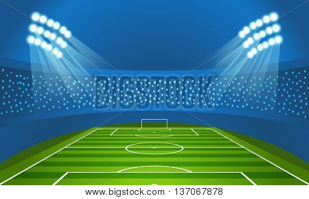 Light stadium mast vector illustration. Stadium with green football field
