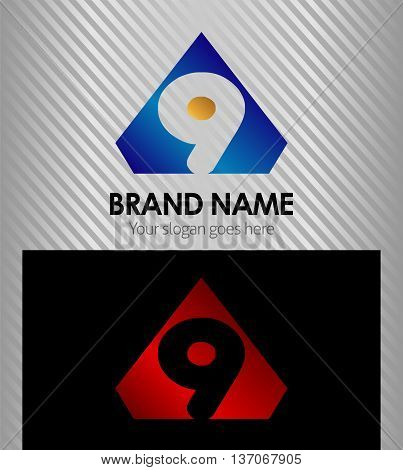 Abstract nine icon, number 9 logo template design vector
