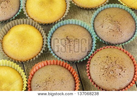 Homemade muffins in two colors on the table