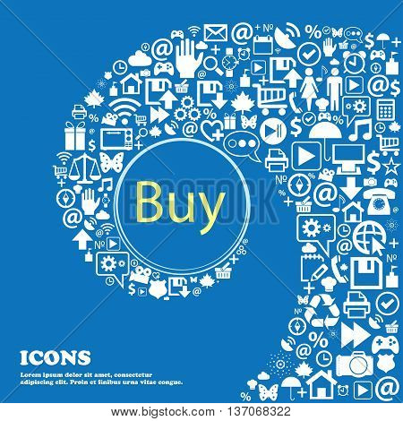 Buy Sign Icon. Online Buying Dollar Usd Button . Nice Set Of Beautiful Icons Twisted Spiral Into The