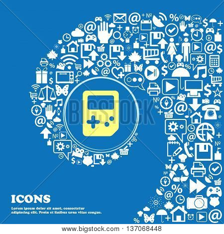Tetris Sign Symbol. Nice Set Of Beautiful Icons Twisted Spiral Into The Center Of One Large Icon. Ve