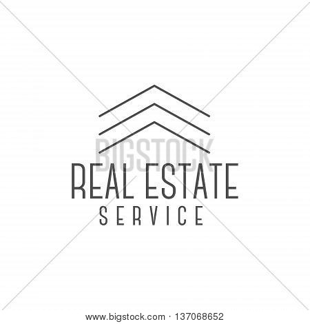 Vector real estate logo design, realtor icon suitable for info graphics, websites and print media. Vector, flat icon, badge, label, clip art. Lineart style. Elegant Thin line design. Monochrome.