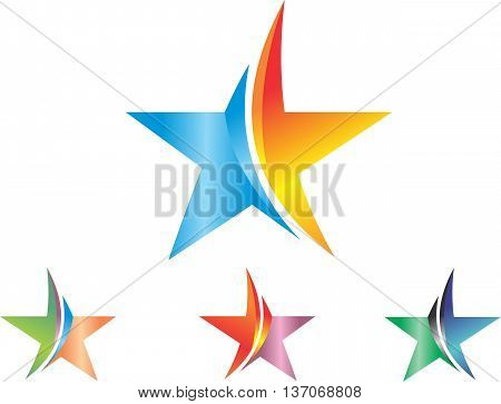 stock logo abstract color of star icons