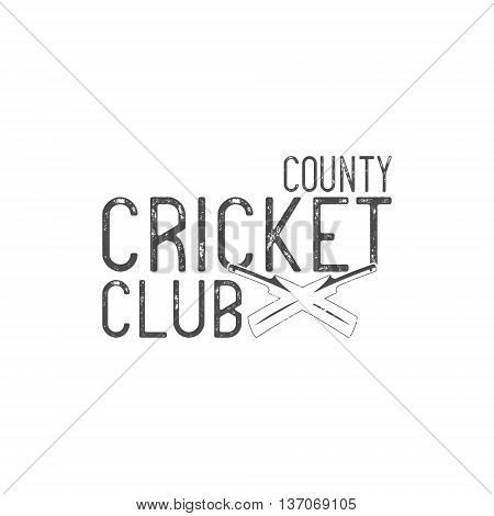 Cricket county club vector emblem and design elements. Cricket logo design. Cricket club badge. Sports elements with cricket gear, equipment. Use for web or tee design or t-shirt print.