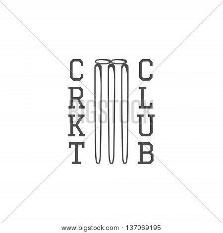 Cricket club emblem design. Cricket logo design. Cricket club badge. Sports symbols with cricket gear, equipment. Use for web design, tee design or print on t-shirt. Monochrome.