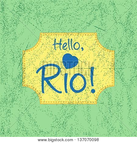 Print with lettering about Rio de Janeiro in retro style on background in brazilian flag colors with scattering and fading. Pattern for fabric textiles clothing shirts t-shirts. Vector illustration