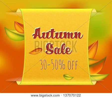 Beautiful vector fall background with sale poster and autumn leaves. Autumn sale concept. Fall leaves on blurred orange backdrop.