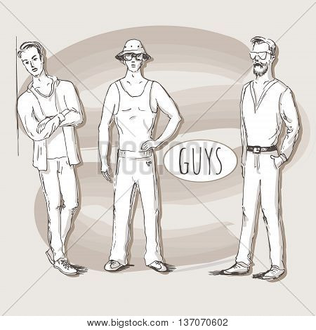 Hand drawn illustration of young guys in sketch style. Vector illustration for greeting card poster or print on clothes.