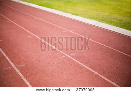 Empty running track in a stadium