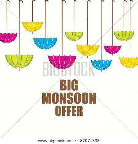 big monsoon offer banner design using colorful umbrella design vector