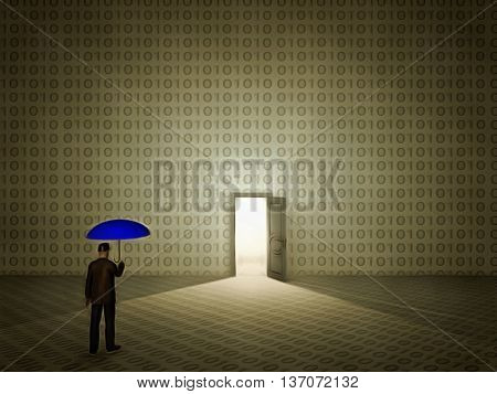 Doorway man with umbrella 3D Render
