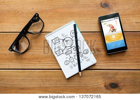sport, planning and technology concept - close up of scheme drawing in notepad with pencil, fitness application on smartphone and eyeglasses on wooden table