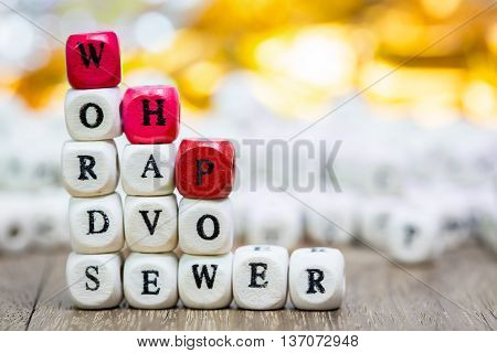 Stack of Words have power dice puzzle on wood background Inspiration concept .