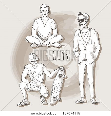Hand drawn illustration of young guys in sketch style. Guy sitting in the lotus position the guy with skateboard and a man in a suit. Vector illustration for greeting card poster or print on clothes.