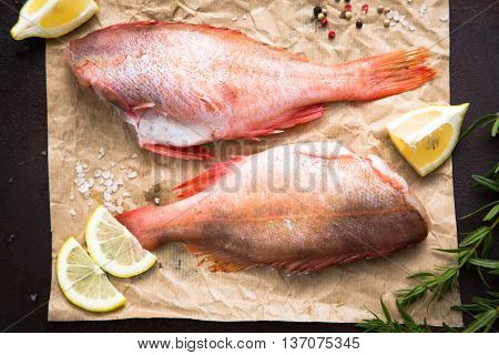 raw Sebastes (red grouper) with lemon and pepper