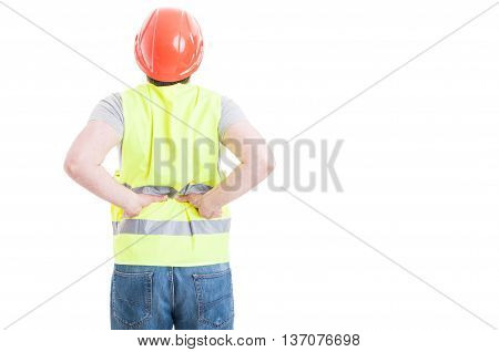 Back View Of Construtor Man With Spinal Injury
