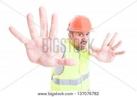 Shocked Builder Male Doing A Rejection Gesture