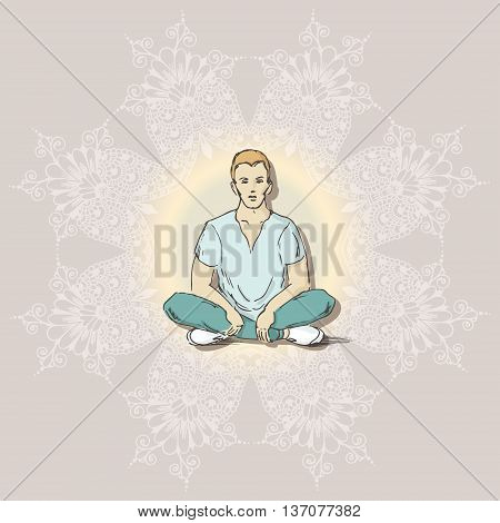 Hand drawn illustration of young guy sitting in the lotus position. Sketch style. Vector illustration for greeting card poster or print on clothes.