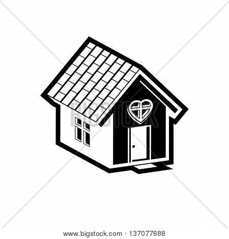 Family house abstract icon harmony at home concept. Simple vector building