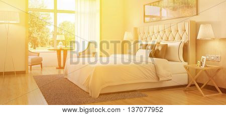 Sunny bedroom with comfy bed in summer (3D rendering)