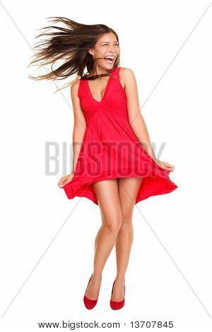 Beautiful Woman Happy Screaming In Red Dress