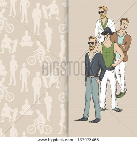 Hand drawn illustration of young guys in sketch style on seamless pattern background with people silhouettes. Vector illustration for greeting card poster or print on clothes.