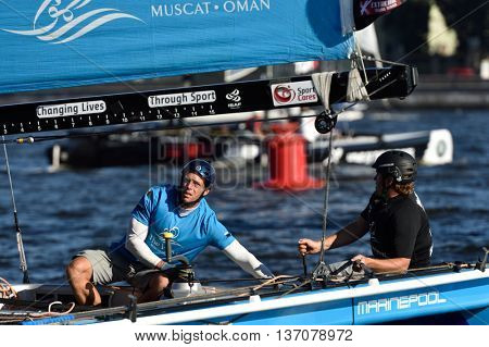 ST. PETERSBURG, RUSSIA - AUGUST 23, 2015: Catamaran The Wave, Muscat of Oman during the 3rd day of St. Petersburg stage of Extreme Sailing Series. The team leading after 3 days