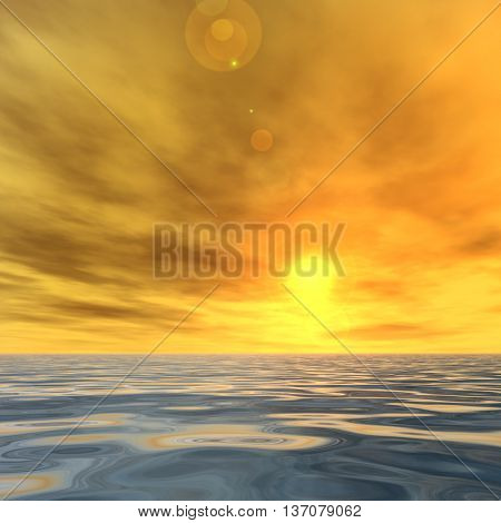 3D illustration concept or conceptual sunset or sunrise background with the sun close to horizon and sea or ocean
