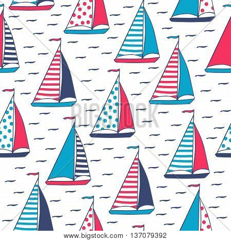 Sails in polka dots and stripes. Seamless pattern in cartoon style. Sailboats hand-drawn. Vector illustration.