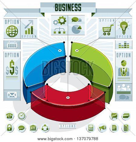 Creative Infographics Conceptual Composition, 3D Three Sectors Circle Idea, Vector Layout Illustrati