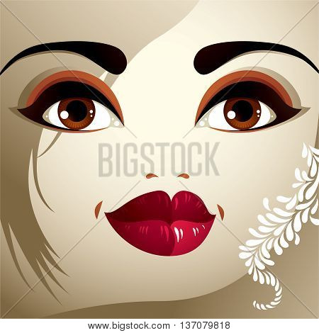 Lips eyes and eyebrows of an attractive woman displaying doubt. Fashionable female haircut.