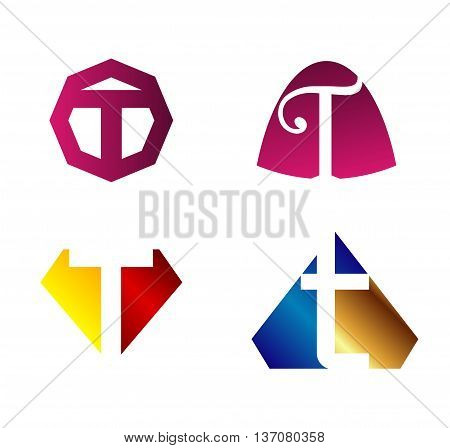 Letter t Alphabetical Logo Design Concepts template design vector