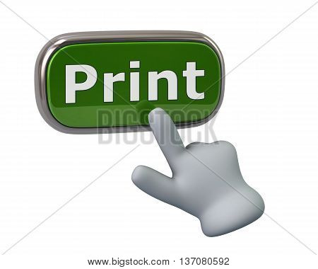 Hand Pressing Green Print Button