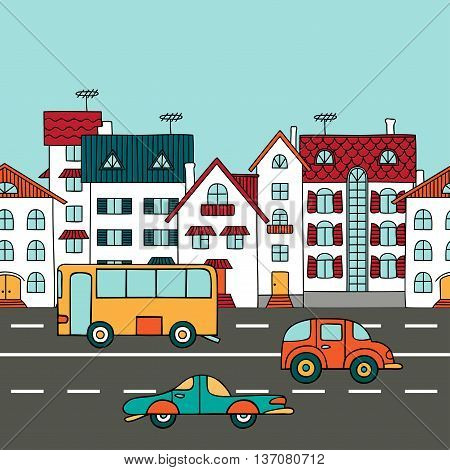 Cityscape with road transport. Residential building and road autocars and buses. Vector illustration in cartoon style. Sketch hand drawn.