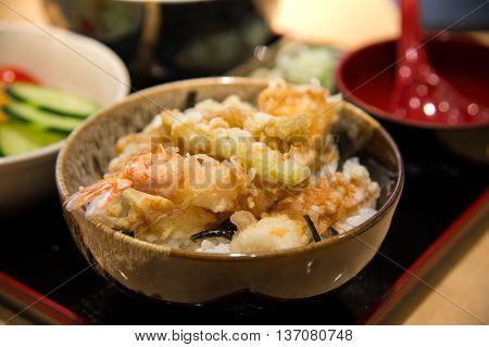 tempura served over a bowl of riceTendon