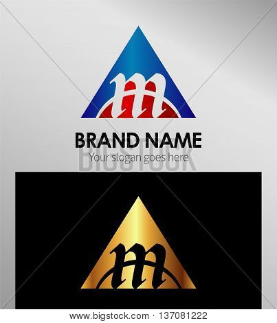 Abstract letter m in triangle shape template design vector