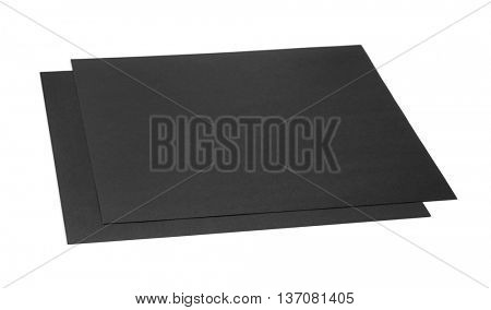 Two sheets of black craft cardboard isolated on white