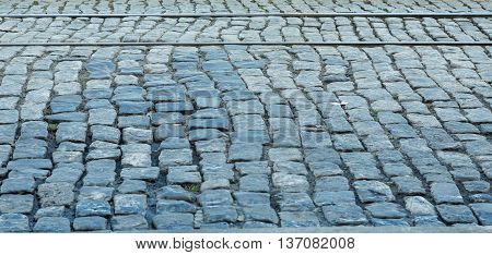 Trolley Tracks in an old Cobblestone road