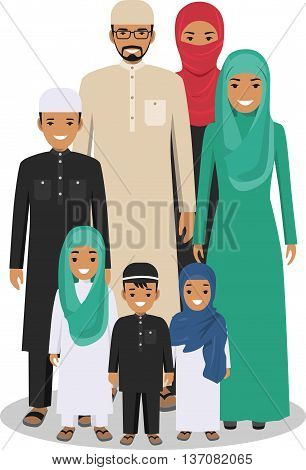 All age group of arab man family. Generations man. Arab people father, mother, son and daughter, standing together in traditional islamic clothes. Social concept. Family concept.