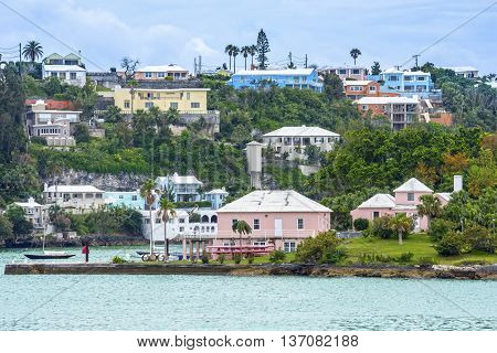 Colorful homes and hotels on this hillside in Hamilton Bermuda.
