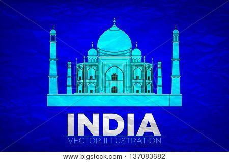 India. Taj Mahal On Vector Illustration