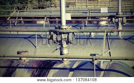 Safety Valve Over The Gigantic Tank For Storage Of The Flammable