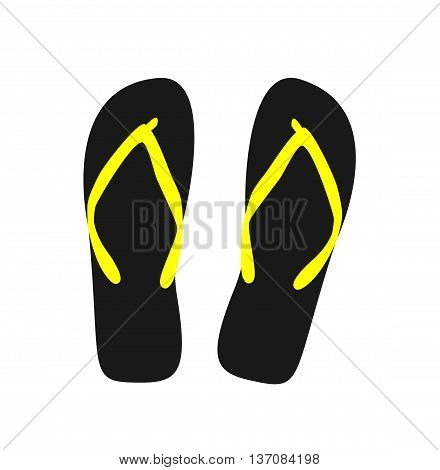 Pair of flip-flops. Vector illustration black color