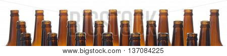 Neck beer bottles brown glass isolated on white background.