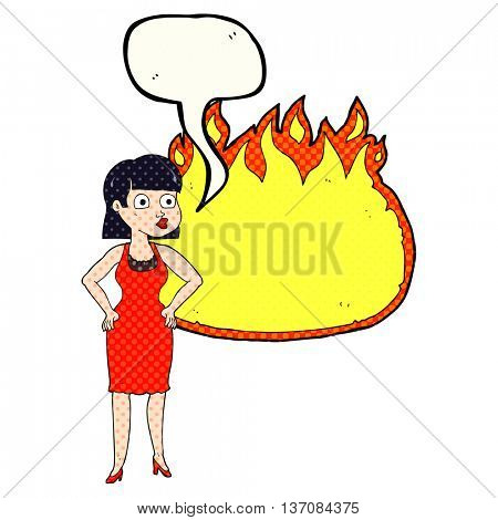 freehand drawn comic book speech bubble cartoon woman in dress with hands on hips and flame banner