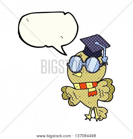 cute freehand drawn comic book speech bubble cartoon well educated bird