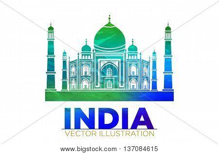 Retro World Wonder Of Taj Mahal Palace In India Vector Illustration