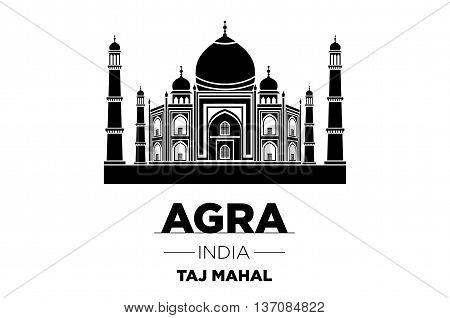 Agra Skyline With Typography Design Vector